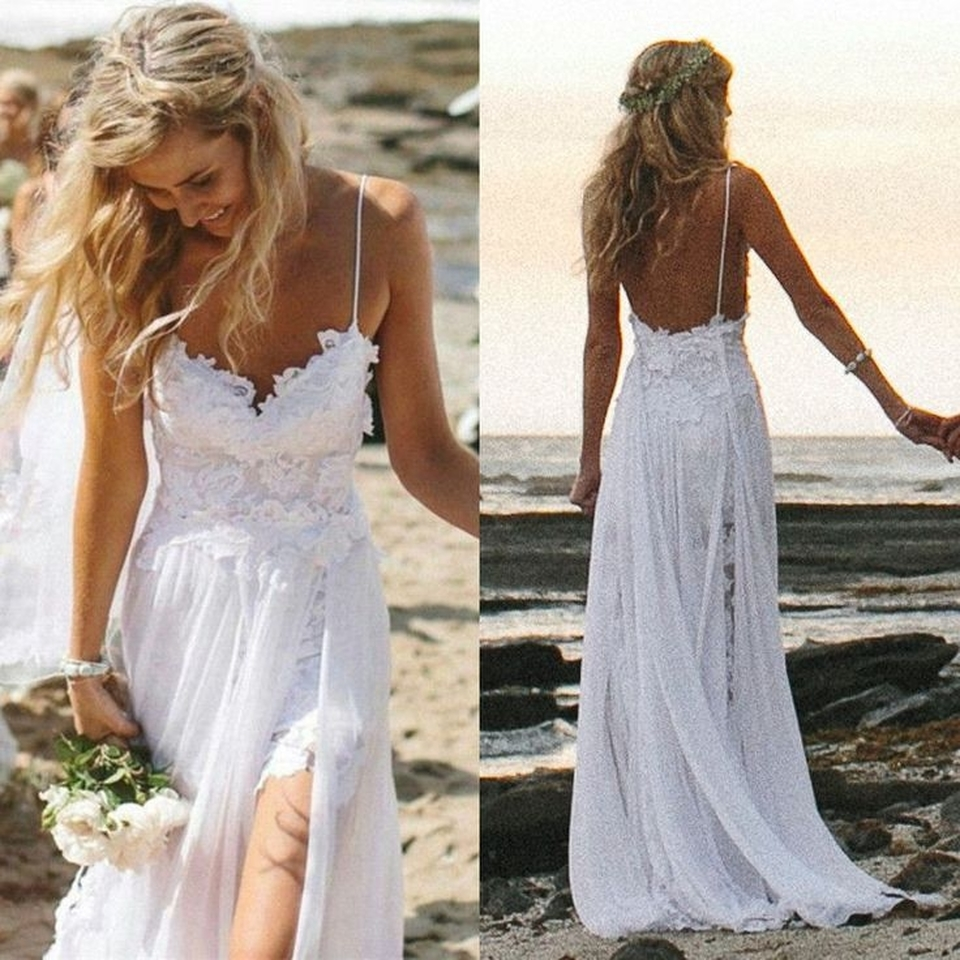 e6209dffdb32 Spaghetti Strap Lace Wedding Dress , Beach Wedding Dress , Short Lace  Inside Long Chiffon Outside