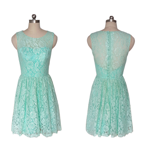 Mint Green Short Lace Bridesmaid Dresses,New Jewel Wedding Party ...