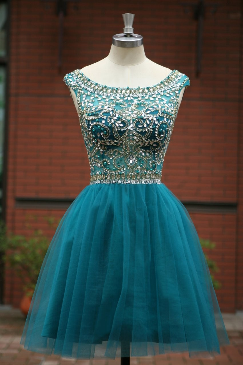 Elegant Sleeveless Tulle Short Prom Dresses,Party Dress,Evening ...