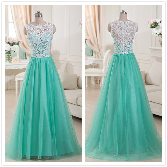 Top Lace Mint Green Tulle Prom Dress Dresses Uk792