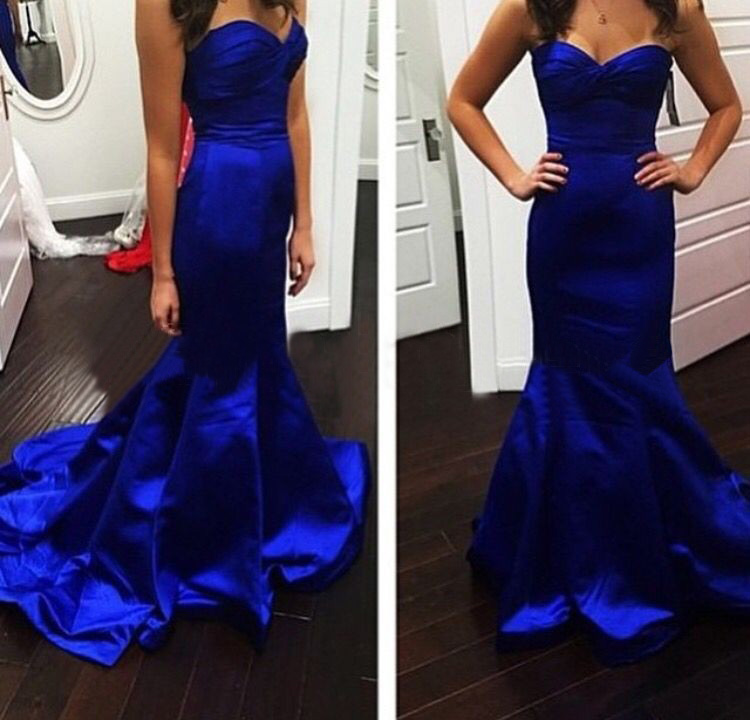 Fashion Royal Blue Satin Sweetheart Mermaid Evening Gown UK13183 on ...