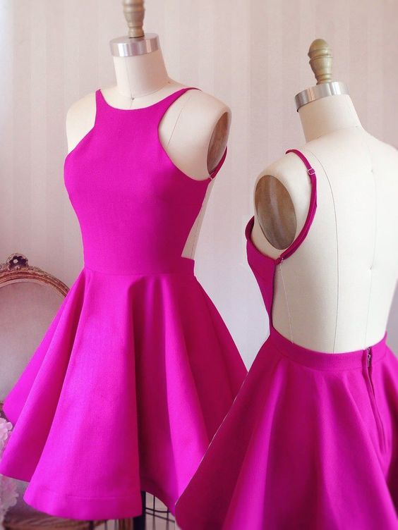 Hot Pink Halter Neck Short Skater Dress Featuring Open Back on Luulla 538d5d916