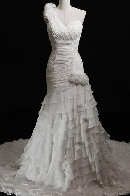 Pretty Chiffon One Strap Pleated Mermaid Wedding Dress With Tiered Skirt UK13313